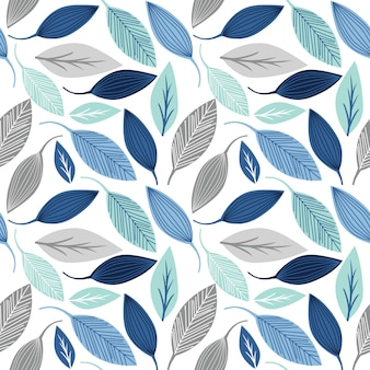 Seamless pattern with leaf blue and silver color