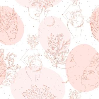 Seamless pattern with leaf and flower elements, girl portrait and silhouette of a pregnant woman in one line style