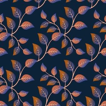 어두운 배경에 잎 원활한 패턴입니다.