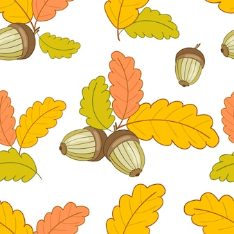 Seamless pattern with leaves and acorns