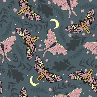 葉と蛾とのシームレスなパターン。