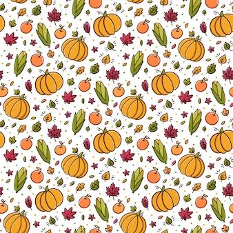 白い背景に葉りんごカボチャトウモロコシとのシームレスなパターン
