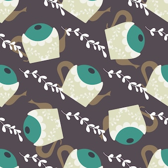 Seamless pattern with leaves and cute teapots