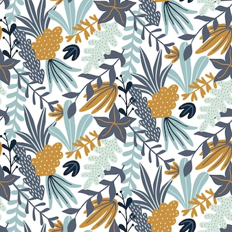 Seamless pattern with leaves and floral elements.