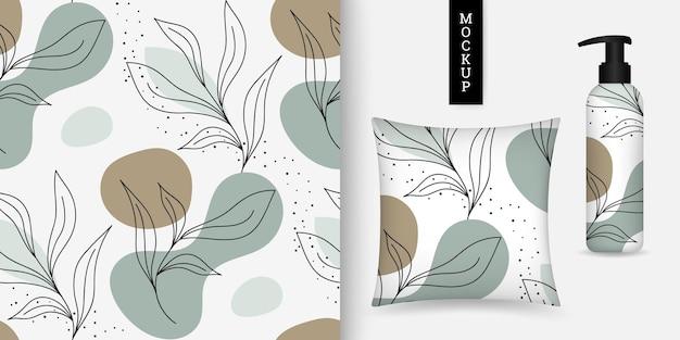 Бесшовный фон с листьями, геометрическими формами и каракулями
