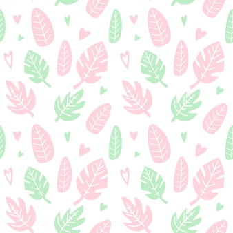 Seamless pattern with leaves and hearts.