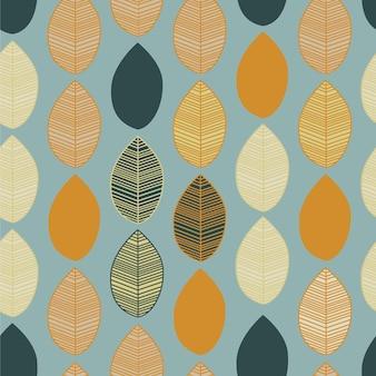 Бесшовные модели с листьями на синем фоне векторные иллюстрации