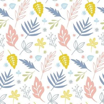 Seamless pattern with leaves and plants.