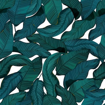 Бесшовные модели с листьями. тропический