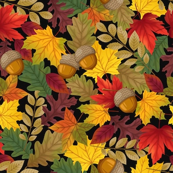 Seamless pattern with leaves and walnut