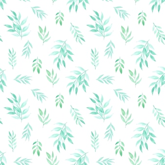 Seamless pattern with leaves watercolor. vector illustration.