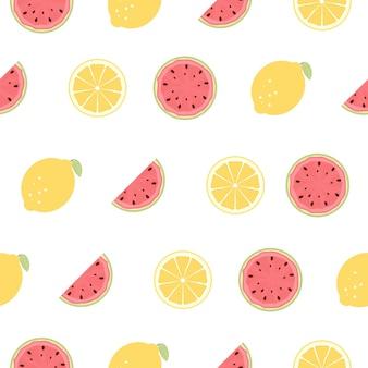 레몬과 수 박 과일로 완벽 한 패턴입니다.