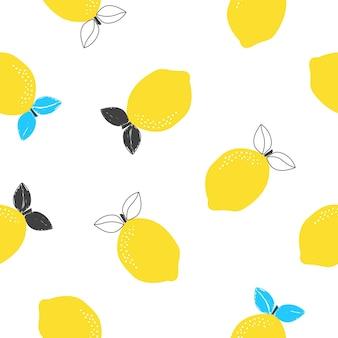 흰색 배경 벡터 일러스트 레이 션에 레몬 과일과 함께 완벽 한 패턴