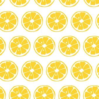 Бесшовный фон с ломтиками лимона цитрусовых рисованной вектор каракули эскиз желтого цвета