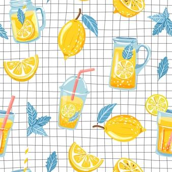 Seamless pattern with lemon and lemonade.