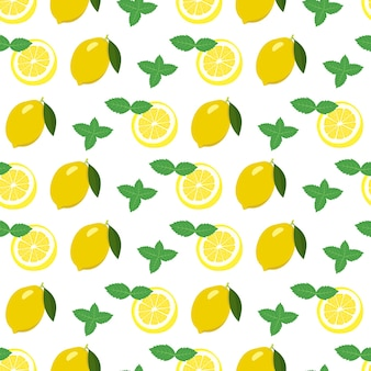 Seamless pattern with lemon and slices and mint leaves