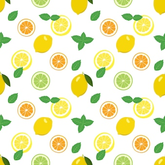 Seamless pattern with lemon tangerine orange and lime mint slices and leaves a set of citrus fruits
