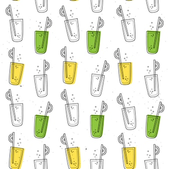 Seamless pattern with lemonade.
