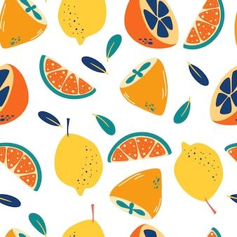 레몬과 함께 완벽 한 패턴입니다. 추상 감귤 배경입니다. 신선한 조각과 전체 레몬 배경입니다.