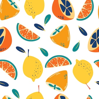 Seamless pattern with lemons. abstract citrus background. fresh slices and whole lemons backdrop.