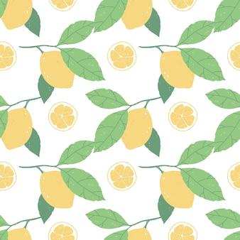 Бесшовный фон с лимонами и листьями на белом фоне