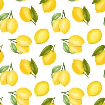 Бесшовный фон с лимонами и листьями