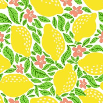 レモンと葉とのシームレスなパターン