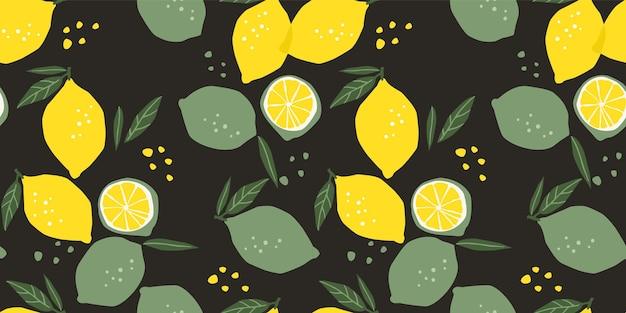 Бесшовные модели с лимонами и лаймами. модные рисованной текстуры. современный абстрактный дизайн для бумаги, обложки, ткани, интерьера и других пользователей.