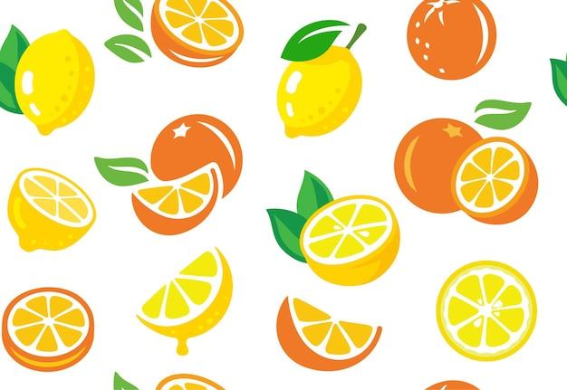 레몬과 오렌지, 열대 과일, 잎으로 된 매끄러운 패턴입니다.