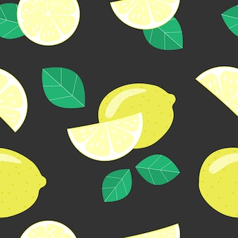 Seamless pattern with lemons on the black background.