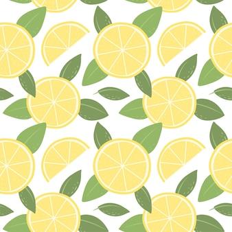 レモンとのシームレスなパターン壁紙生地と紙のベクトルの明るいパターン