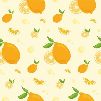 Бесшовный фон с лимонами. фрукты в мультяшном стиле.