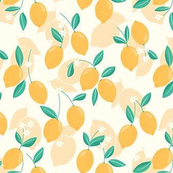 レモン、葉、花とのシームレスなパターン。トレンディな手描きのオーガニックフラットスタイルの柑橘系の背景。モダンなデザイン、ベクトルイラスト