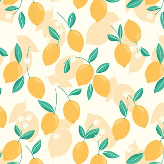 Seamless pattern with lemons, leaves and flowers. trendy handdrawn organic flat style citrus background. modern design, vector illustration