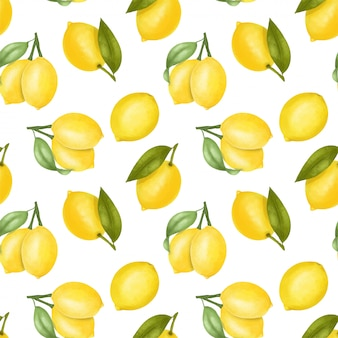 Seamless pattern with lemons and leaves