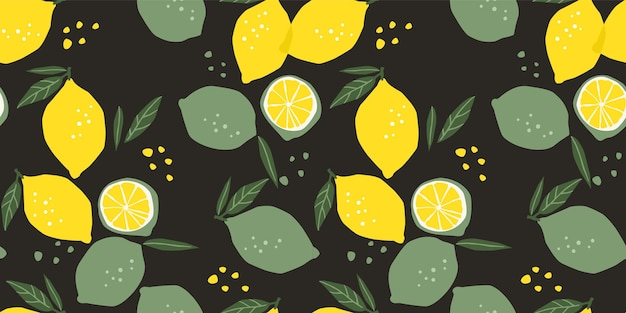 Seamless pattern with lemons and limes. trendy hand drawn textures. modern abstract design for paper, cover, fabric, interior decor and other users.