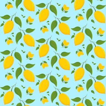 Бесшовный фон с лимонами на ветке в мультяшном стиле.