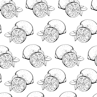 Seamless pattern with lemons, whole and sliced, isolated on a white background.