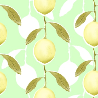 Seamless pattern with lemons.