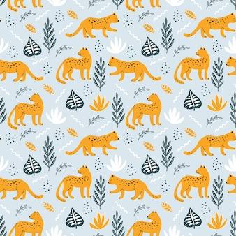 Seamless pattern with leopard and hand drawn elements