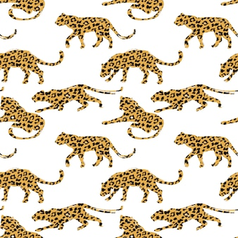 Seamless pattern with leopard silhouettes.
