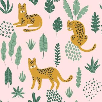 Бесшовный узор с леопардами и тропическими листьями.