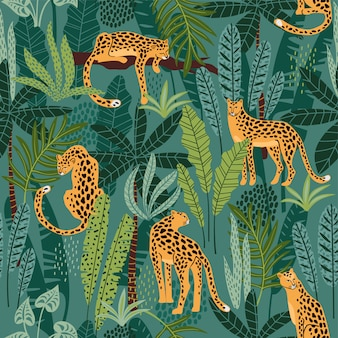 Seamless pattern with leopards and tropical leaves.