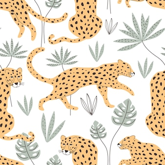Seamless pattern with leopards and tropical plants vector illustration