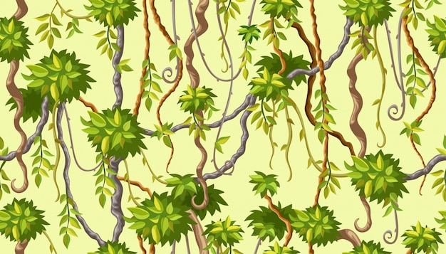 Seamless pattern with liana branches.