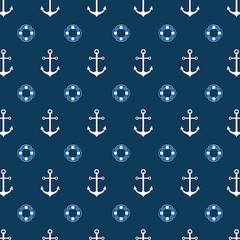 Seamless pattern with a lifeline and anchor. bright sea background. vector pattern