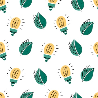 Seamless pattern with light bulbs and leaves. doodle style