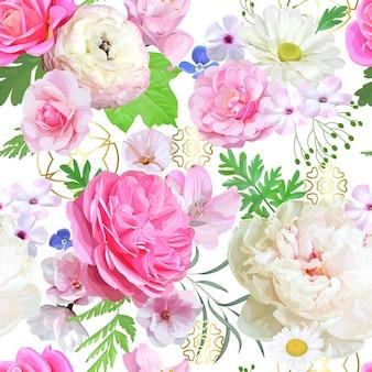 淡い花とのシームレスなパターン