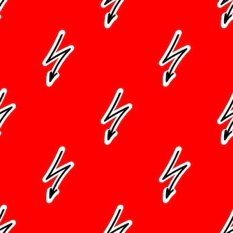Seamless pattern with lightning on a red backdrop