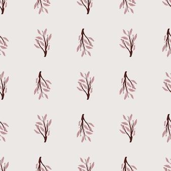 ライラックの葉の枝飾りとのシームレスなパターン。